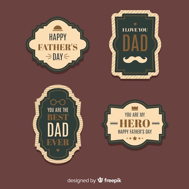 Kolekcja Odznak Dzień Ojca Rocznika Darmowych Wektorów