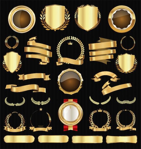Kolekcja odznak i etykiet sprzedaż złota retro Premium Wektorów