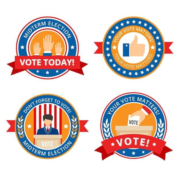 Kolekcja Odznak I Naklejek Do Głosowania Darmowych Wektorów