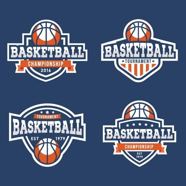 Kolekcja odznak koszykówki Darmowych Wektorów