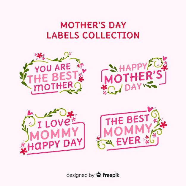 Kolekcja Odznak Na Dzień Matki Darmowych Wektorów
