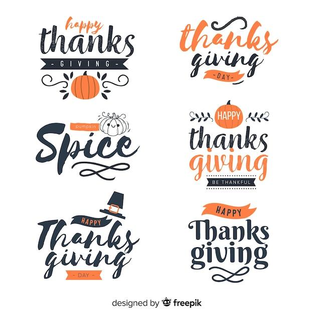 Kolekcja odznak napis happy thanksgiving Darmowych Wektorów