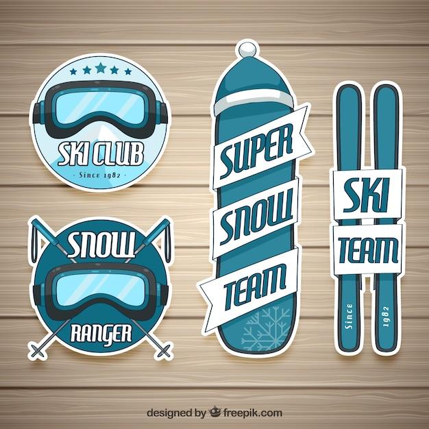 Kolekcja odznak narciarskich Darmowych Wektorów