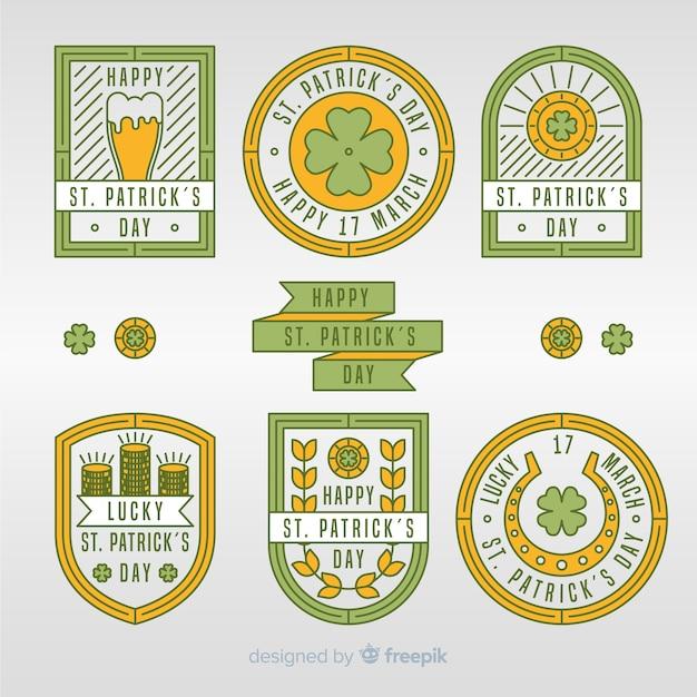 Kolekcja odznak patrick's day Darmowych Wektorów