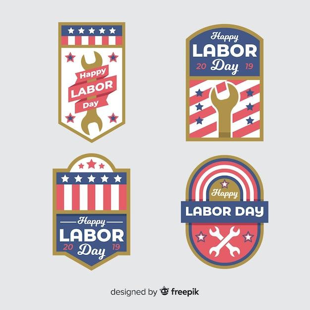 Kolekcja odznak płaska święto pracy Darmowych Wektorów