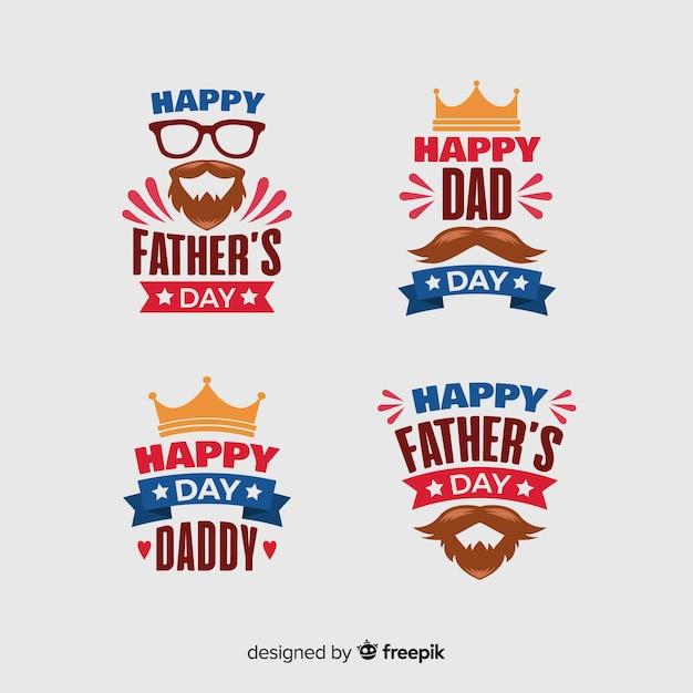 Kolekcja odznak płaski dzień ojca Darmowych Wektorów