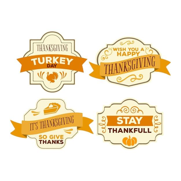 Kolekcja odznak rocznika dziękczynienia Darmowych Wektorów