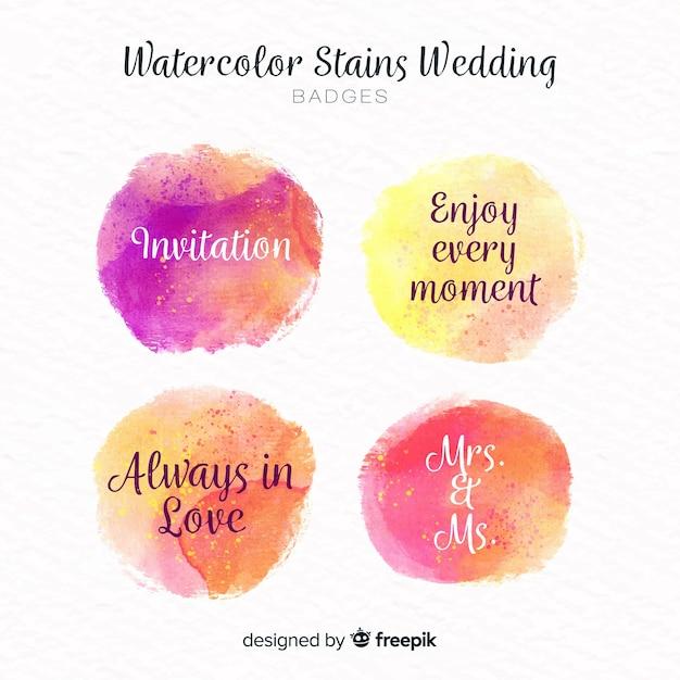 Kolekcja odznak ślubnych plamy akwarela Darmowych Wektorów