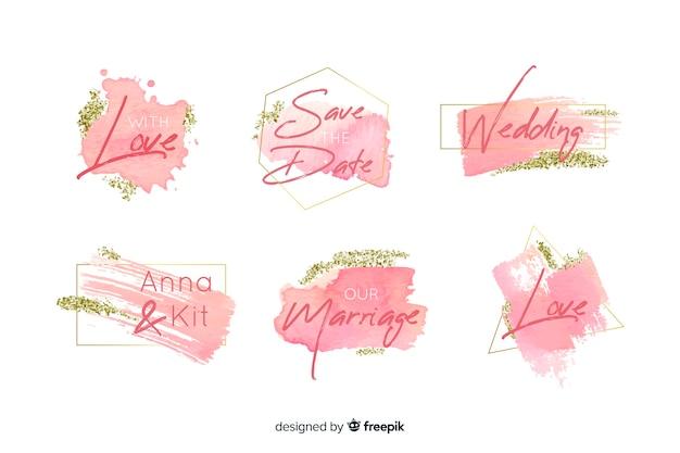 Kolekcja odznak ślubnych z plamami akwarela Darmowych Wektorów