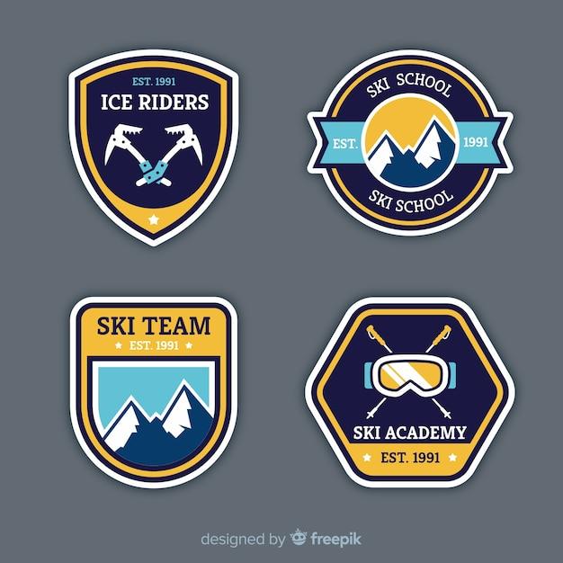 Kolekcja Odznak Sportów Zimowych Darmowych Wektorów
