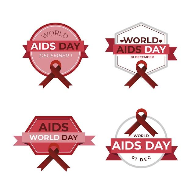 Kolekcja Odznak światowego Dnia Pomocy Darmowych Wektorów