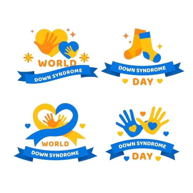 Kolekcja Odznak światowego Dnia Zespołu Downa Darmowych Wektorów