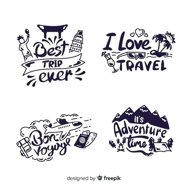 Kolekcja odznak z napisem podróżnym Darmowych Wektorów