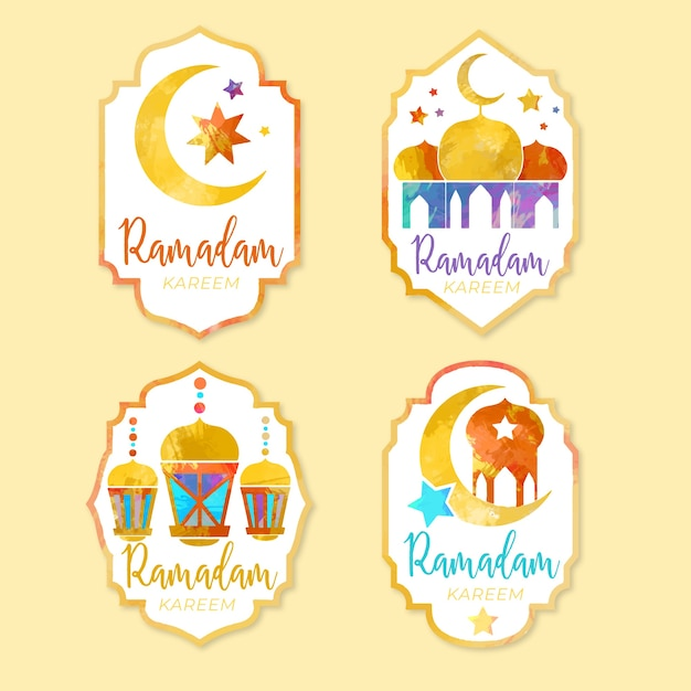 Kolekcja Odznaka Akwarela Ramadan Darmowych Wektorów