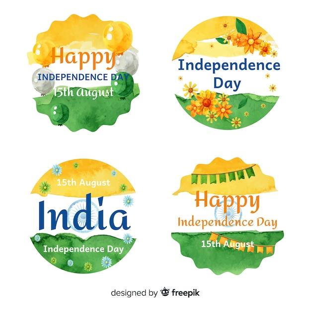 Kolekcja odznaka dzień niepodległości akwarela indie Darmowych Wektorów