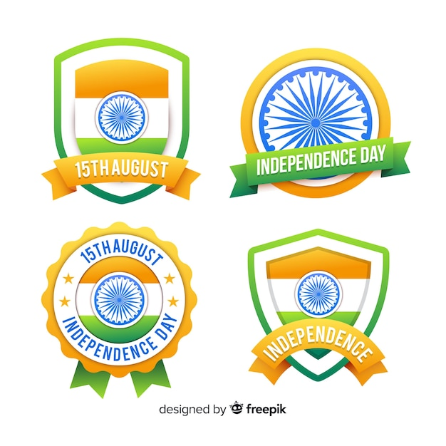 Kolekcja odznaka dzień niepodległości płaskim indii Darmowych Wektorów
