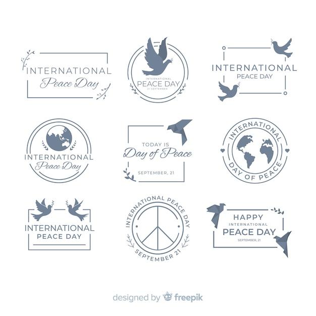 Kolekcja odznaka dzień płaskiego pokoju Darmowych Wektorów
