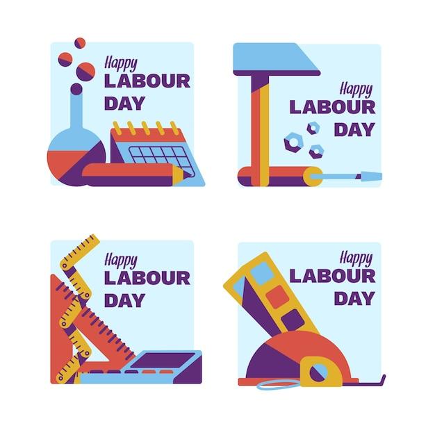 Kolekcja Odznaka Płaskie święto Pracy Darmowych Wektorów