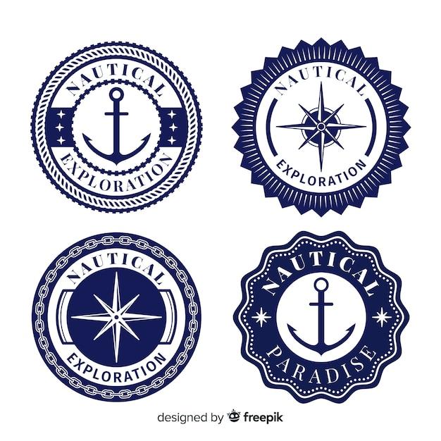 Kolekcja Odznaki Płaskie Morskie Darmowych Wektorów