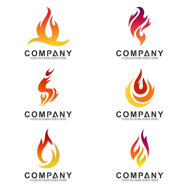 Kolekcja Ognistych Logotypów Premium Wektorów