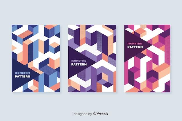 Kolekcja Okładek Izometryczny Wzór Geometryczny Darmowych Wektorów