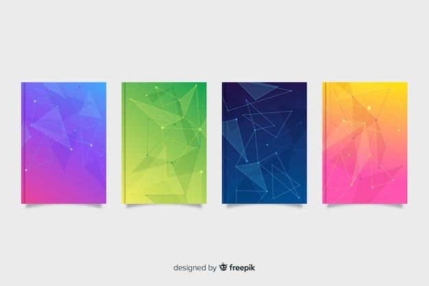 Kolekcja okładek kolorowych technologii gradientowych Darmowych Wektorów