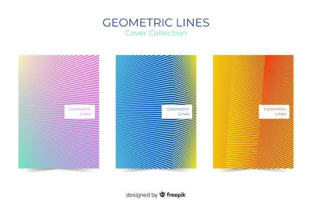 Kolekcja okładek linii geometrycznych Darmowych Wektorów