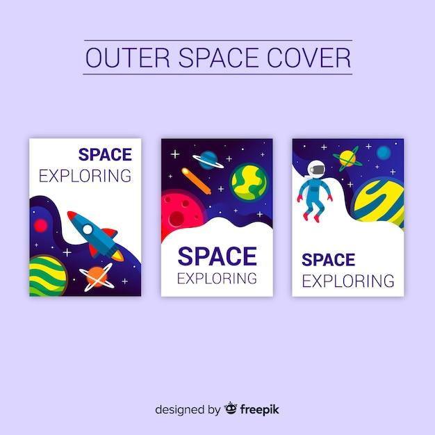 Kolekcja okładek przestrzeni kosmicznej Darmowych Wektorów