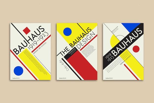 Kolekcja Okładek W Stylu Bauhaus Darmowych Wektorów