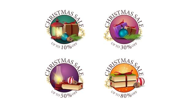 Kolekcja Okrągłych świątecznych Naklejek Internetowych Ze Zniżkami Ozdobionych Ikonami Bożego Narodzenia. Zestaw Okrągłych Banerów Z Różnymi Ofertami Premium Wektorów