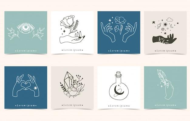 Kolekcja Okultystycznego Tła Z Ręki, Kwiat, Oko, Księżyc. Premium Wektorów