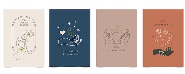 Kolekcja Okultystycznego Tła Z Ręki, Planety, Serca I Księżyca. Premium Wektorów