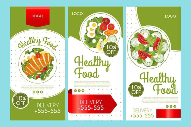 Kolekcja Opowiadań Na Instagramie Dla Zdrowej żywności Darmowych Wektorów