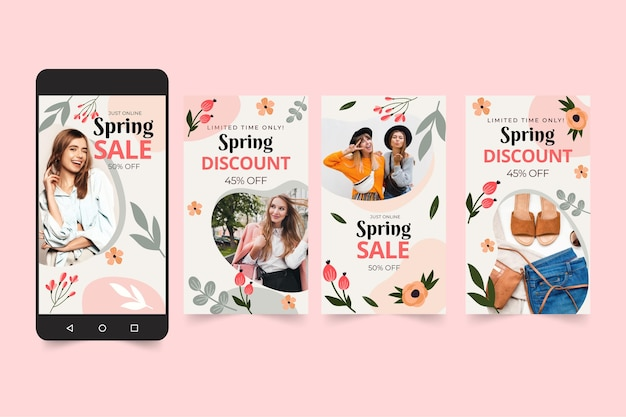 Kolekcja Opowiadań Na Instagramie Płaskiej Wiosennej Sprzedaży Darmowych Wektorów