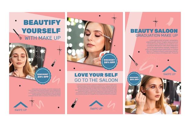 Kolekcja Opowiadań Na Instagramie W Salonie Piękności Premium Wektorów