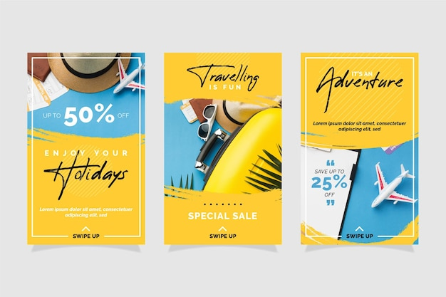 Kolekcja Opowiadań Na Instagramie W Sprzedaży Podróży Premium Wektorów
