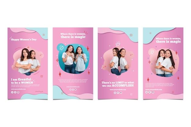 Kolekcja Opowiadań Na Instagramie Z Okazji Międzynarodowego Dnia Kobiet Darmowych Wektorów