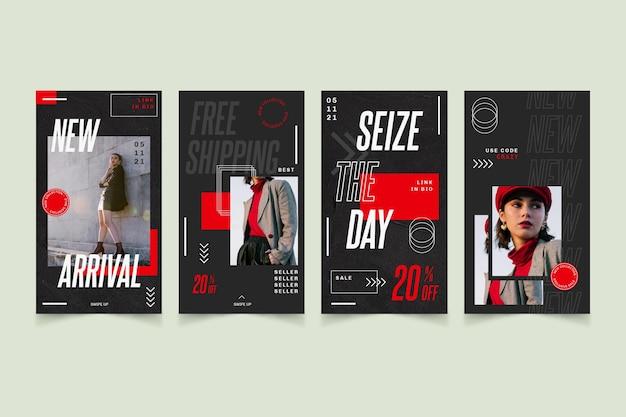 Kolekcja Opowiadań Na Instagramie Z Promocją Sprzedaży Modowej Darmowych Wektorów
