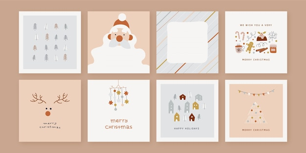 Kolekcja Organicznych Ręcznie Rysowane Kartki świąteczne Darmowych Wektorów