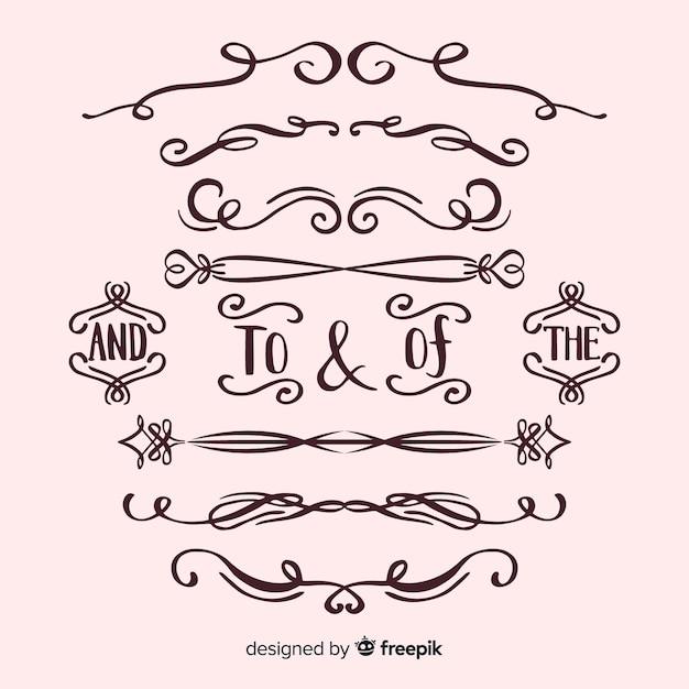 Kolekcja ornament kaligraficzny ślub Darmowych Wektorów