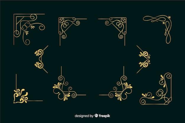 Kolekcja ornament złotej granicy na ciemnozielonym tle Darmowych Wektorów