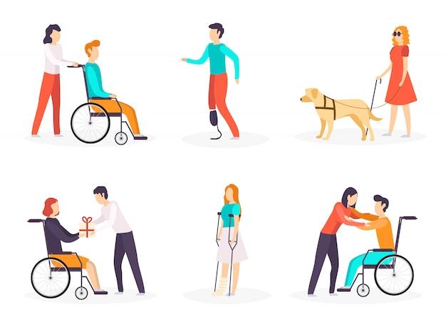 Kolekcja Osób Niepełnosprawnych. Premium Wektorów