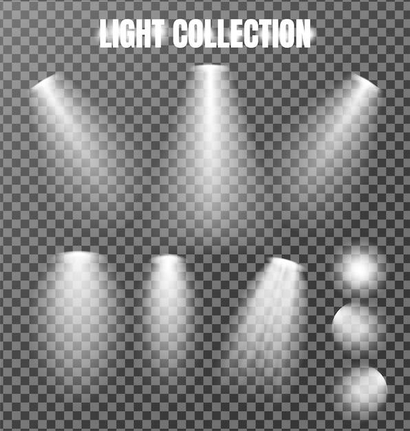 Kolekcja oświetlenia na przezroczystym Premium Wektorów