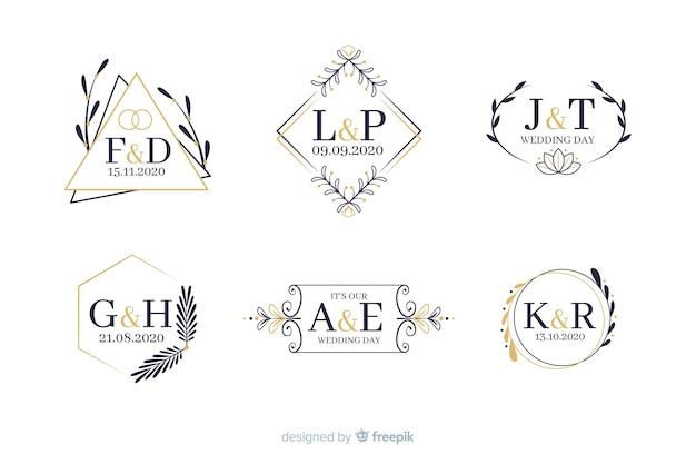Kolekcja ozdobnych monogram ślubny Darmowych Wektorów