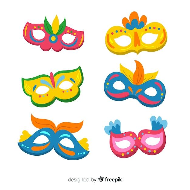 Kolekcja płaskich karnawałowe maski Darmowych Wektorów