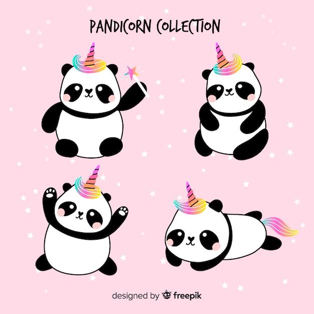 Kolekcja panda w stylu jednorożca z kawą Darmowych Wektorów