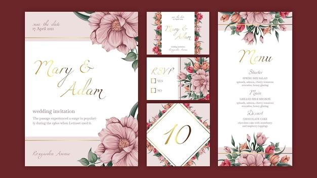 Kolekcja Papeterii Szablon Kwiatowy ślub Premium Wektorów