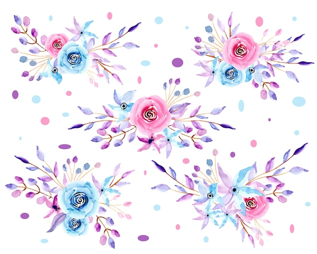 Kolekcja pastelowych akwareli kompozycji kwiatowych Premium Wektorów