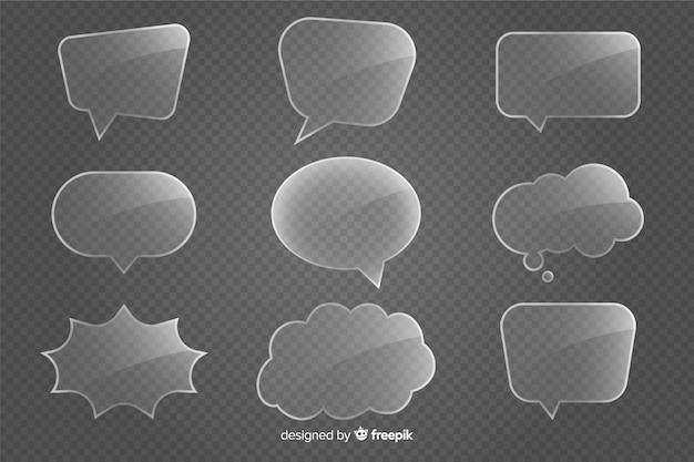 Kolekcja pęcherzyków mowy realistyczne szkła Darmowych Wektorów