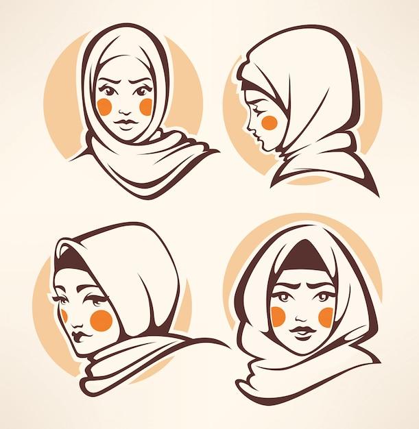 Kolekcja pięknych dziewczyn arabskich Premium Wektorów